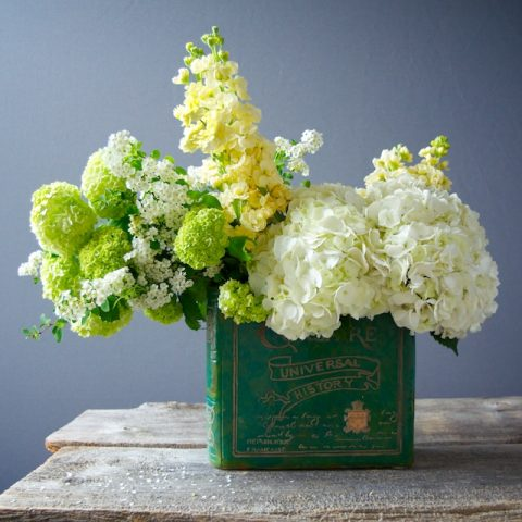 Arrangemenet in Book Vase - White Floral