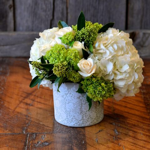 Classic Floral Cuts in a Lace Painted Ceramic Vase