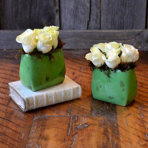 White Roses in Ceramic Vase