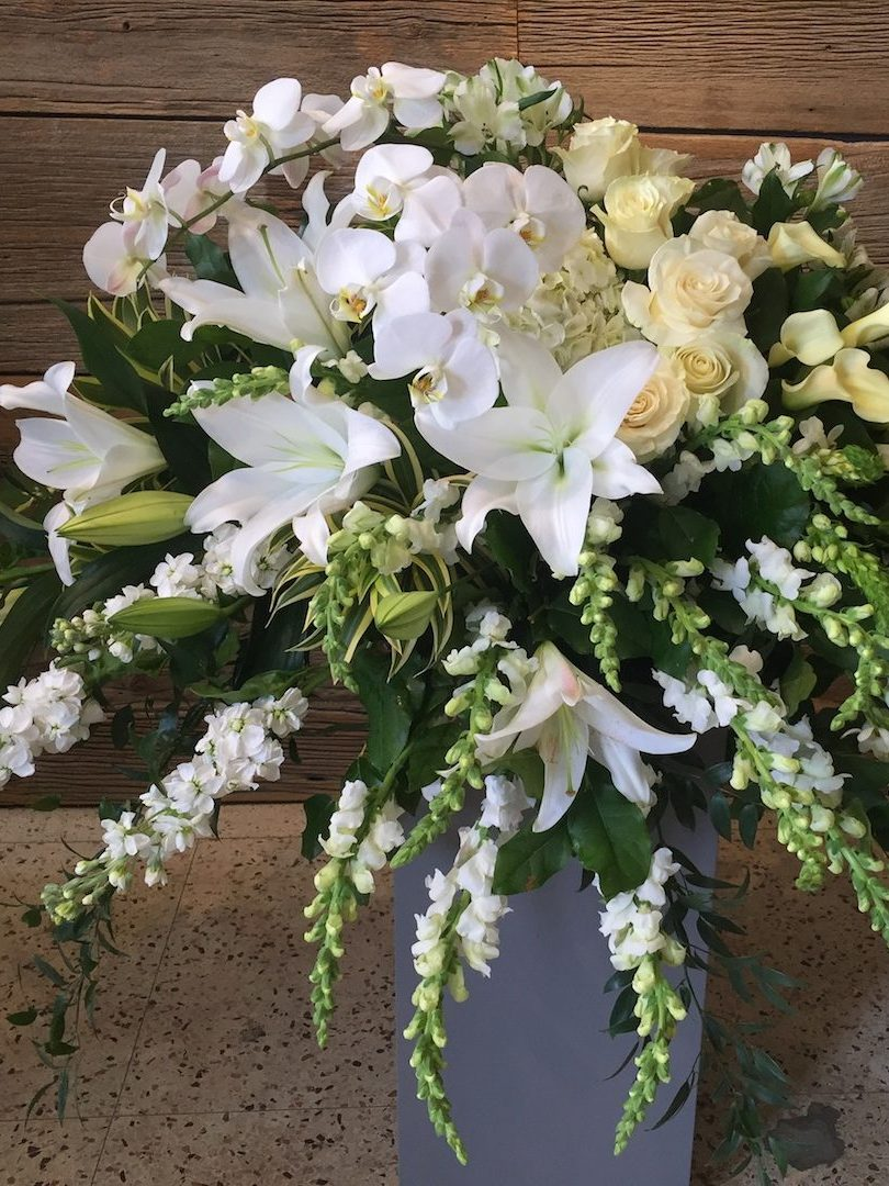 Casket White Sympathy Flowers