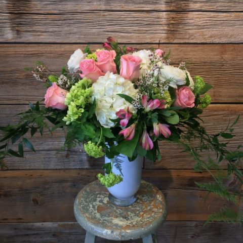 Antique Vase Pink Flowers